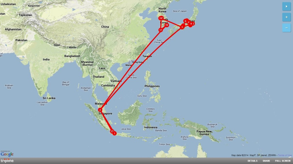 Map Backpacking Japan-Korea