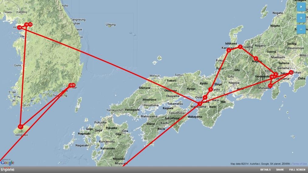 Map Backpacking Japan-Korea2